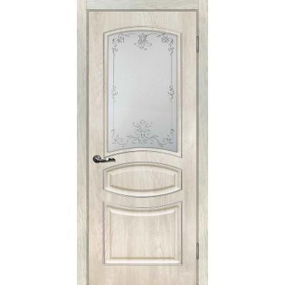 Межкомнатная Дверь МариаМ Сиена-5 Дуб седой стекло контур золото