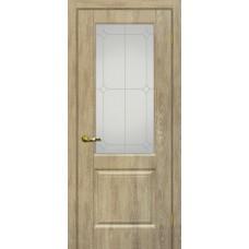 Дверь МариаМ Версаль-1 Дуб песочный стекло контур серебро