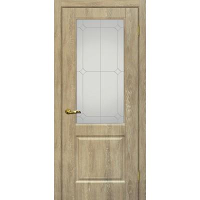 Межкомнатная Дверь МариаМ Версаль-1 Дуб песочный стекло контур серебро