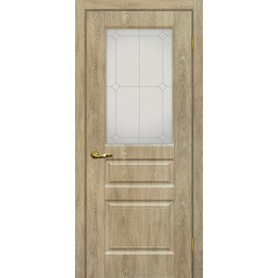 Межкомнатная Дверь МариаМ Версаль-2 Дуб песочный стекло контур серебро