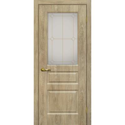 Межкомнатная Дверь МариаМ Версаль-2 Дуб песочный стекло контур золото