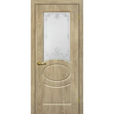 Межкомнатная Дверь МариаМ Сиена-1 Дуб песочный стекло контур серебро