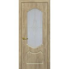 Дверь МариаМ Сиена-2 Дуб песочный стекло контур золото