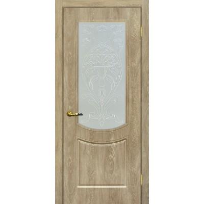 Межкомнатная Дверь МариаМ Сиена-3 Дуб песочный стекло контур золото