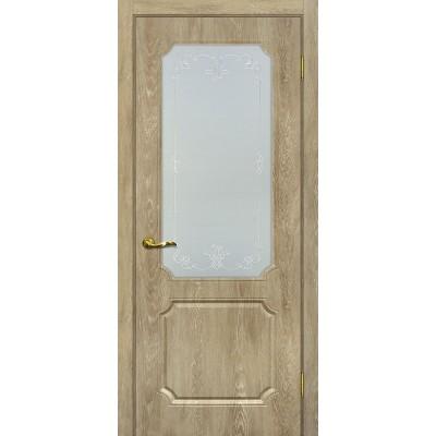 Межкомнатная Дверь МариаМ Сиена-4 Дуб песочный стекло контур серебро