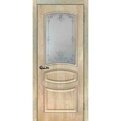 Межкомнатная Дверь МариаМ Сиена-5 Дуб песочный стекло контур серебро