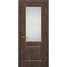 Дверь МариаМ Версаль-1 Дуб корица стекло контур серебро