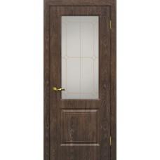 Дверь МариаМ Версаль-1 Дуб корица стекло контур золото