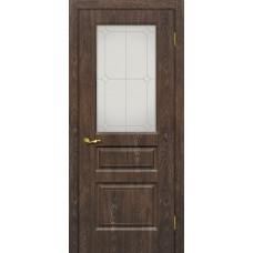 Дверь МариаМ Версаль-2 Дуб корица стекло контур серебро