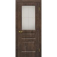 Дверь МариаМ Версаль-2 Дуб корица стекло контур золото