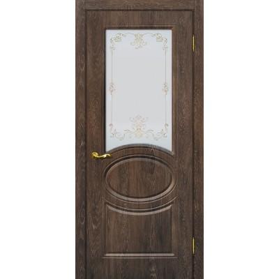 Межкомнатная Дверь МариаМ Сиена-1 Дуб корица стекло контур золото
