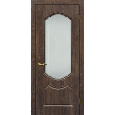 Межкомнатная Дверь МариаМ Сиена-2 Дуб корица стекло контур серебро