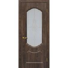 Дверь МариаМ Сиена-2 Дуб корица стекло контур золото