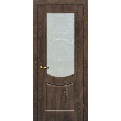 Межкомнатная Дверь МариаМ Сиена-3 Дуб корица стекло контур серебро