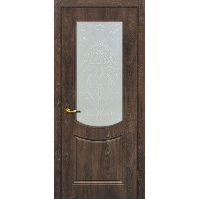 Межкомнатная Дверь МариаМ Сиена-3 Дуб корица стекло контур золото