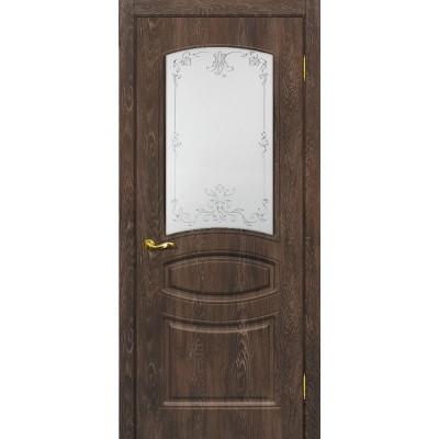 Межкомнатная Дверь МариаМ Сиена-5 Дуб корица стекло контур золото