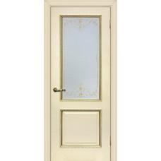 Дверь МариаМ Мурано-1 Магнолия патина золото стекло контурный полимер золото