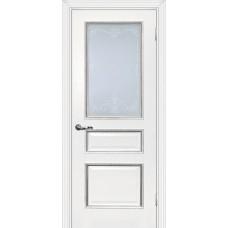 Дверь МариаМ Мурано-2 Белый патина серебро стекло контурный полимер серебро