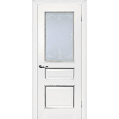 Межкомнатная Дверь МариаМ Мурано-2 Белый патина серебро стекло контурный полимер серебро
