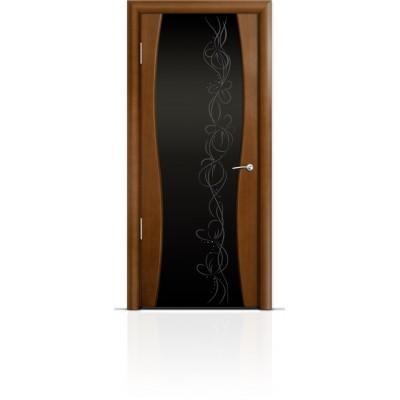 Межкомнатная Дверь Мильяна Омега-1 Анегри триплекс черный Фантазия