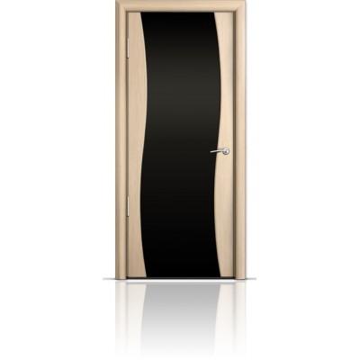 Межкомнатная Дверь Мильяна Омега Беленый дуб триплекс черный