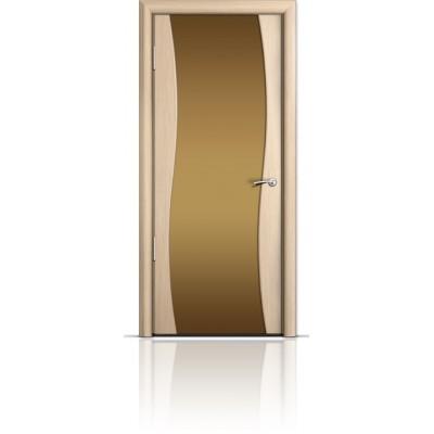 Межкомнатная Дверь Мильяна Омега Беленый дуб триплекс бронзовый