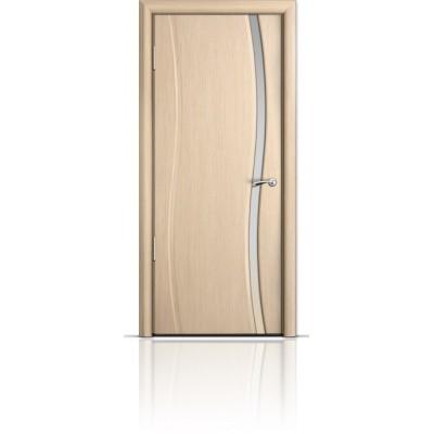 Межкомнатная Дверь Мильяна Омега Беленый дуб триплекс узкий белый