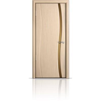 Межкомнатная Дверь Мильяна Омега Беленый дуб триплекс узкий бронзовый