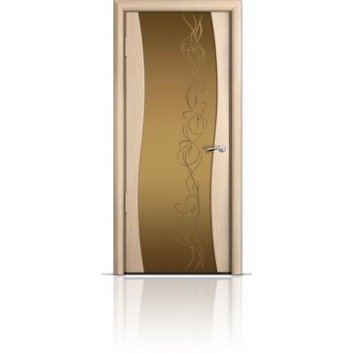 Межкомнатная Дверь Мильяна Омега Беленый дуб триплекс бронзовый Фантазия