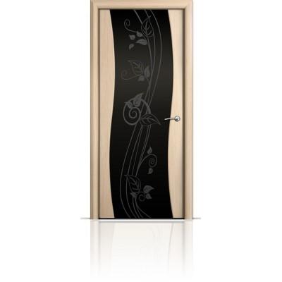 Межкомнатная Дверь Мильяна Омега Беленый дуб триплекс черный Нежность