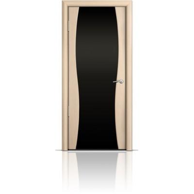 Межкомнатная Дверь Мильяна Омега-1 Беленый дуб триплекс черный