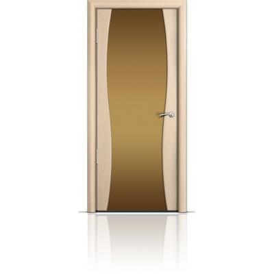 Межкомнатная Дверь Мильяна Омега-1 Беленый дуб триплекс бронзовый