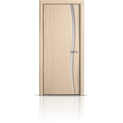 Межкомнатная Дверь Мильяна Омега-1 Беленый дуб триплекс узкий белый