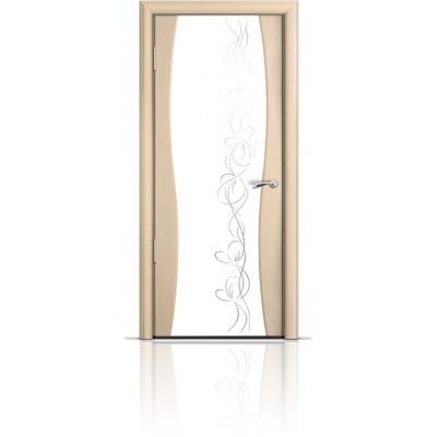Межкомнатная Дверь Мильяна Омега-1 Беленый дуб триплекс белый Фантазия