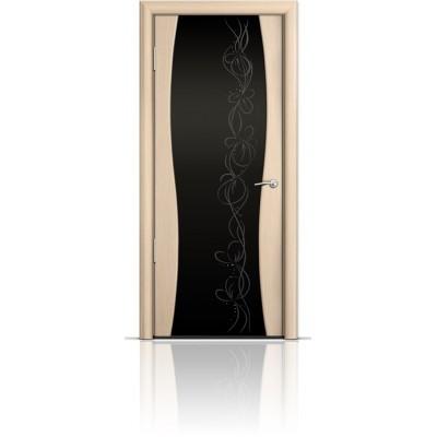 Межкомнатная Дверь Мильяна Омега-1 Беленый дуб триплекс черный Фантазия