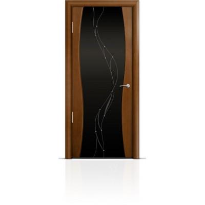 Межкомнатная Дверь Мильяна Омега-1 Анегри триплекс черный Иллюзия