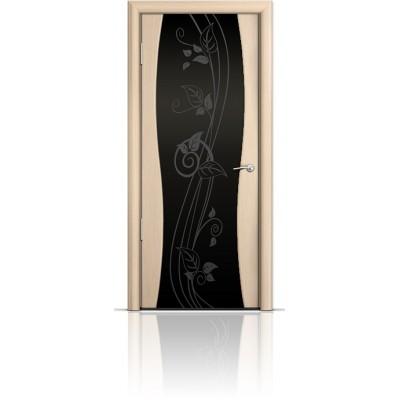 Межкомнатная Дверь Мильяна Омега-1 Беленый дуб триплекс черный Нежность