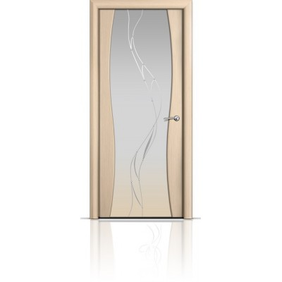 Межкомнатная Дверь Мильяна Омега-1 Беленый дуб триплекс белый Иллюзия