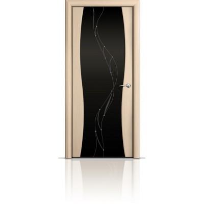 Межкомнатная Дверь Мильяна Омега-1 Беленый дуб триплекс черный Иллюзия