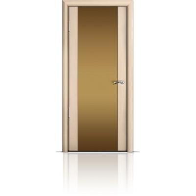 Межкомнатная Дверь Мильяна Омега-2 Беленый дуб триплекс бронзовый