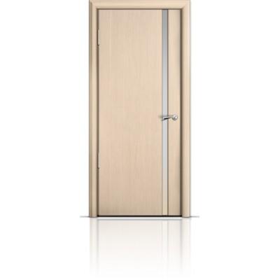 Межкомнатная Дверь Мильяна Омега-2 Беленый дуб триплекс узкий белый