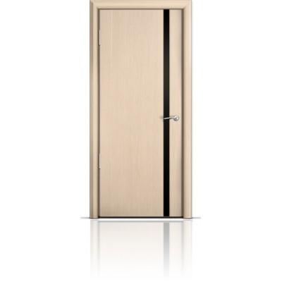 Межкомнатная Дверь Мильяна Омега-2 Беленый дуб триплекс узкий черный