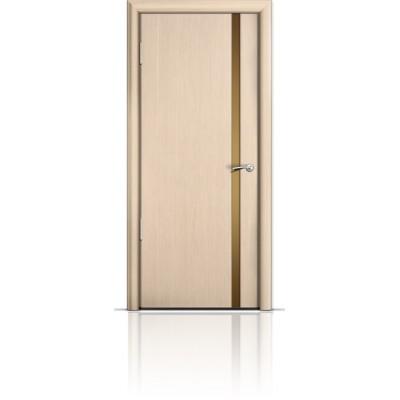 Межкомнатная Дверь Мильяна Омега-2 Беленый дуб триплекс узкий бронзовый