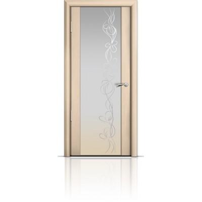 Межкомнатная Дверь Мильяна Омега-2 Беленый дуб триплекс белый Фантазия