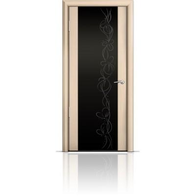 Межкомнатная Дверь Мильяна Омега-2 Беленый дуб триплекс черный Фантазия