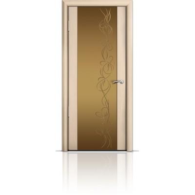 Межкомнатная Дверь Мильяна Омега-2 Беленый дуб триплекс бронзовый Фантазия