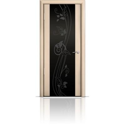 Межкомнатная Дверь Мильяна Омега-2 Беленый дуб триплекс черный Нежность