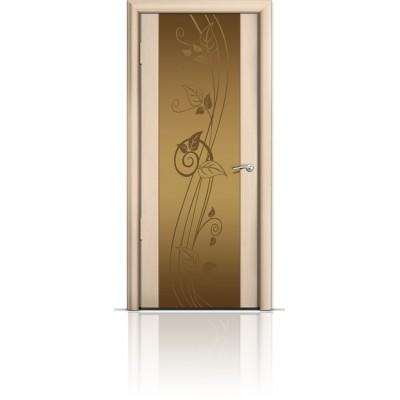 Межкомнатная Дверь Мильяна Омега-2 Беленый дуб триплекс бронзовый Нежность