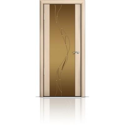 Межкомнатная Дверь Мильяна Омега-2 Беленый дуб триплекс бронзовый Иллюзия
