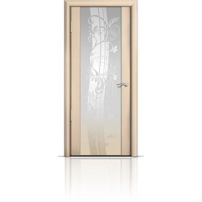 Межкомнатная Дверь Мильяна Омега-2 Беленый дуб триплекс белый Мотив